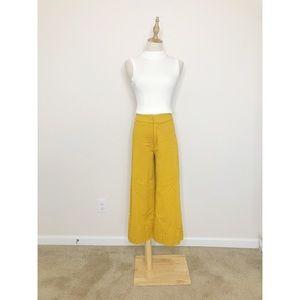 Zara Yellow Wide Leg Crop Pants